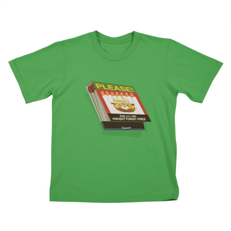 Smokey the Bear's Matches Kids T-Shirt by BullShirtCo