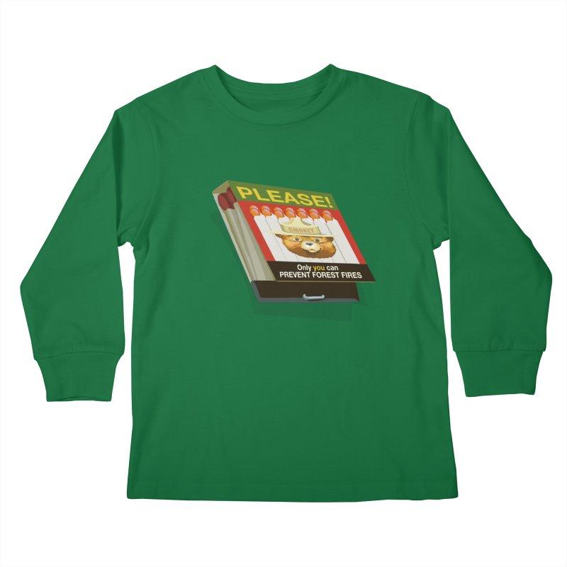Smokey the Bear's Matches Kids Longsleeve T-Shirt by BullShirtCo