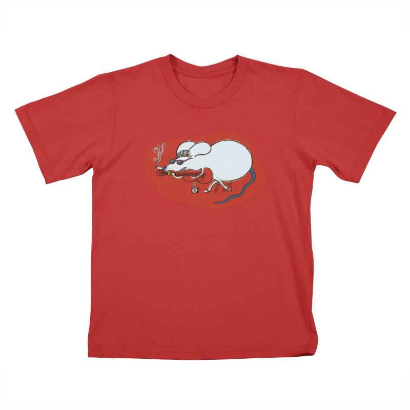 Retro New Year Rat Kids T-Shirt by BullShirtCo
