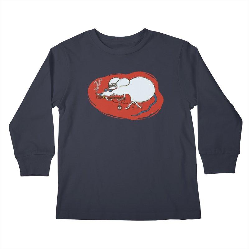 Retro New Year Rat Kids Longsleeve T-Shirt by BullShirtCo