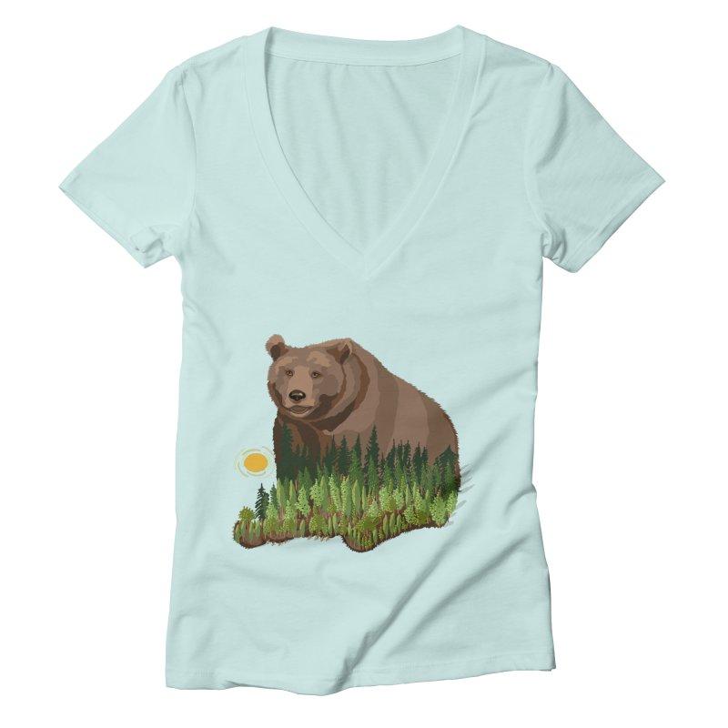Woods in a Bear Women's Deep V-Neck V-Neck by BullShirtCo