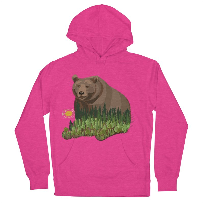 Woods in a Bear Women's French Terry Pullover Hoody by BullShirtCo
