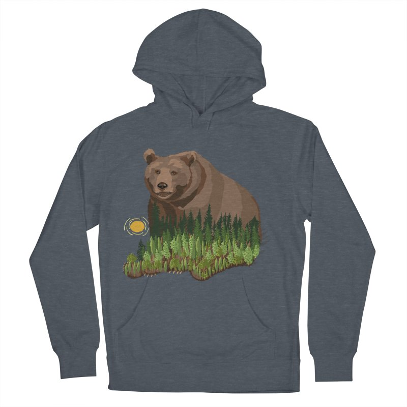 Woods in a Bear Men's French Terry Pullover Hoody by BullShirtCo