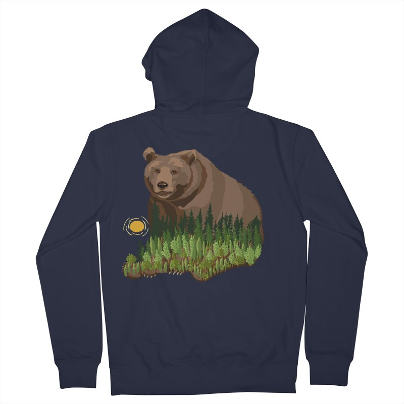 Woods in a Bear Men's French Terry Zip-Up Hoody by BullShirtCo