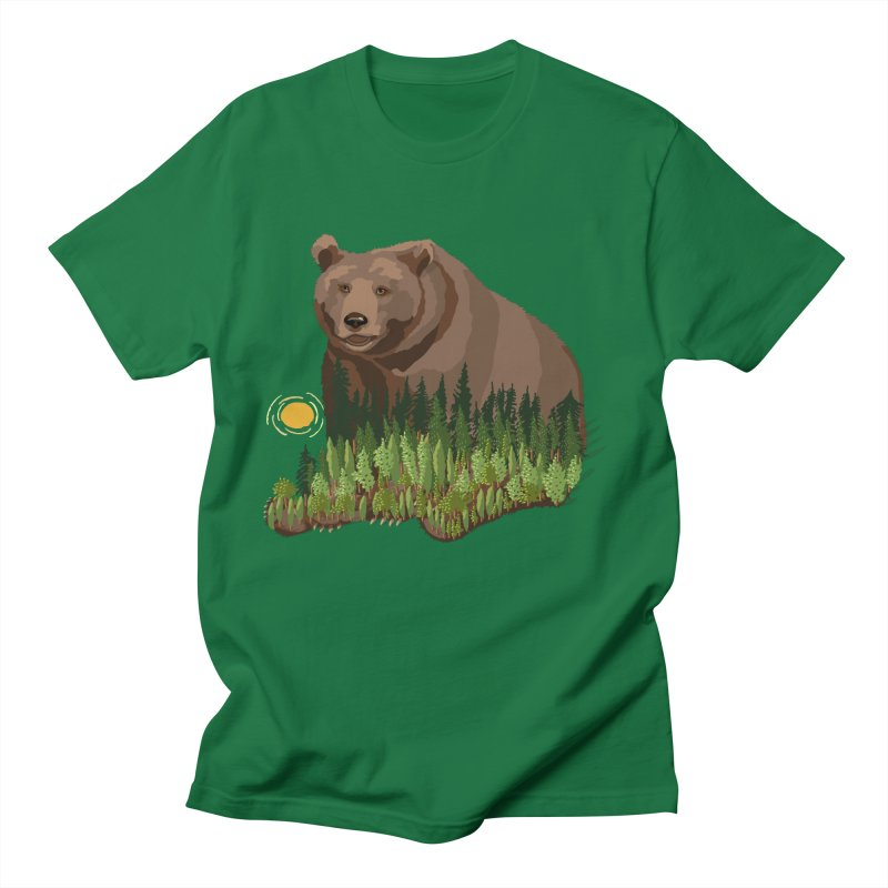 Woods in a Bear in Men's Regular T-Shirt Kelly Green by BullShirtCo