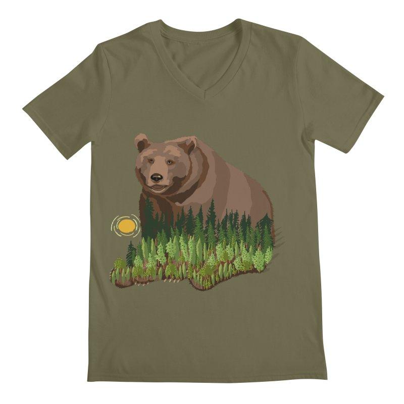 Woods in a Bear Men's Regular V-Neck by BullShirtCo