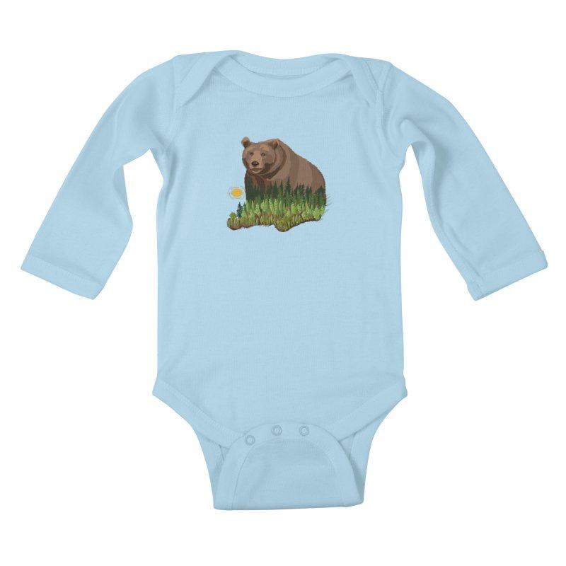 Woods in a Bear Kids Baby Longsleeve Bodysuit by BullShirtCo