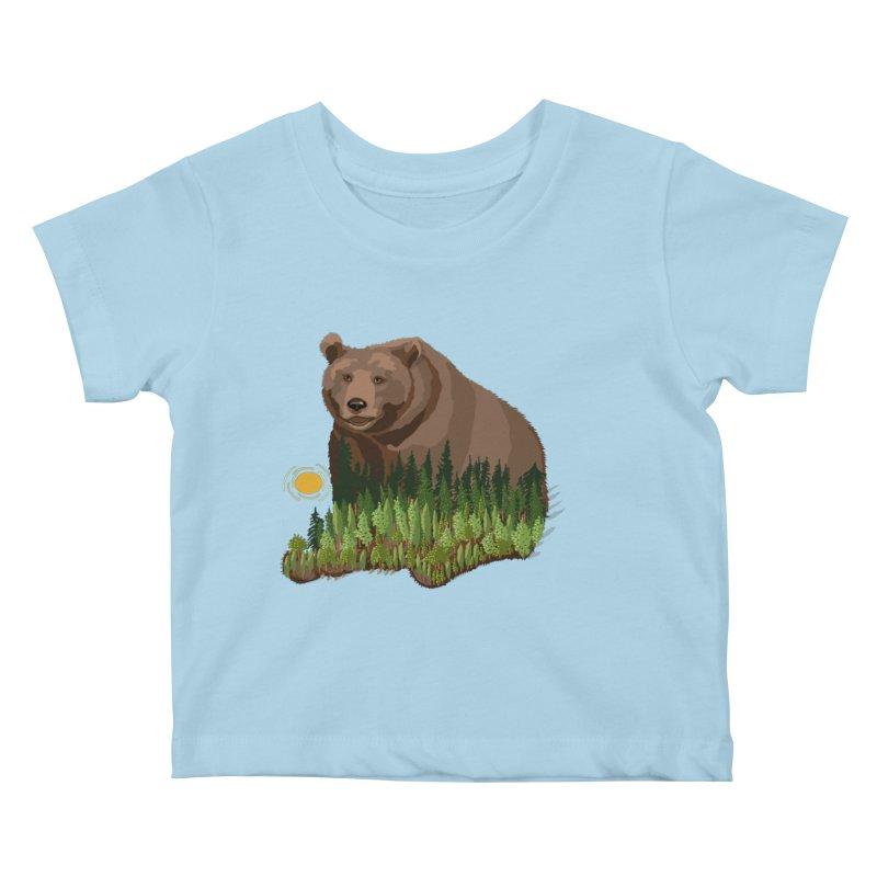Woods in a Bear Kids Baby T-Shirt by BullShirtCo