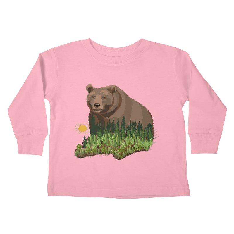 Woods in a Bear Kids Toddler Longsleeve T-Shirt by BullShirtCo