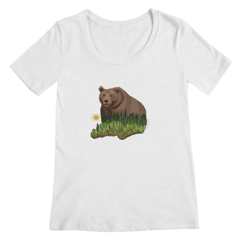 Woods in a Bear Women's Regular Scoop Neck by BullShirtCo