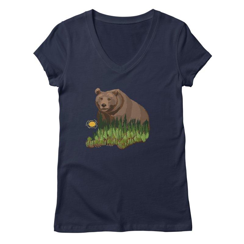 Woods in a Bear Women's Regular V-Neck by BullShirtCo