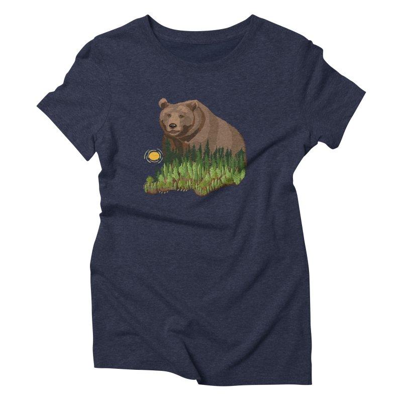 Woods in a Bear Women's Triblend T-Shirt by BullShirtCo