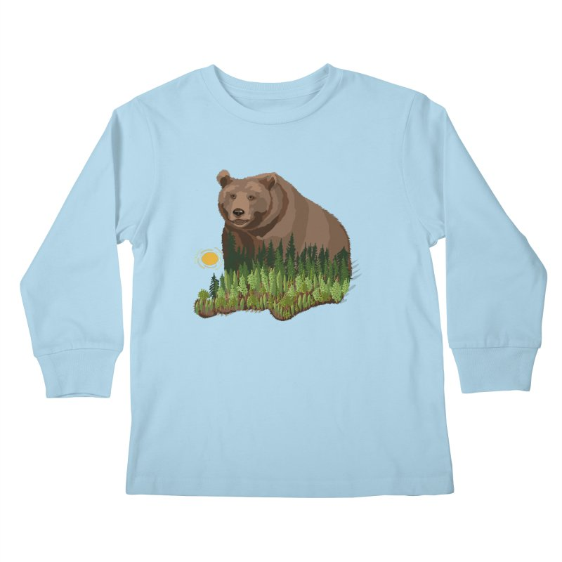 Woods in a Bear Kids Longsleeve T-Shirt by BullShirtCo