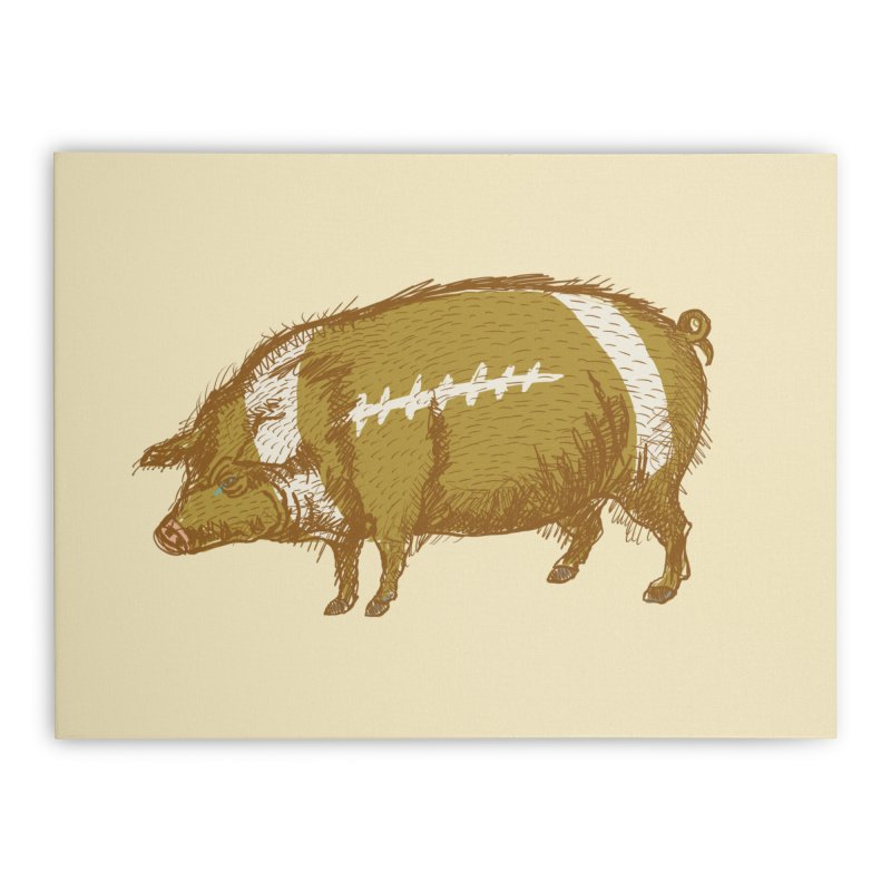 Pig Skin Home Stretched Canvas by BullShirtCo