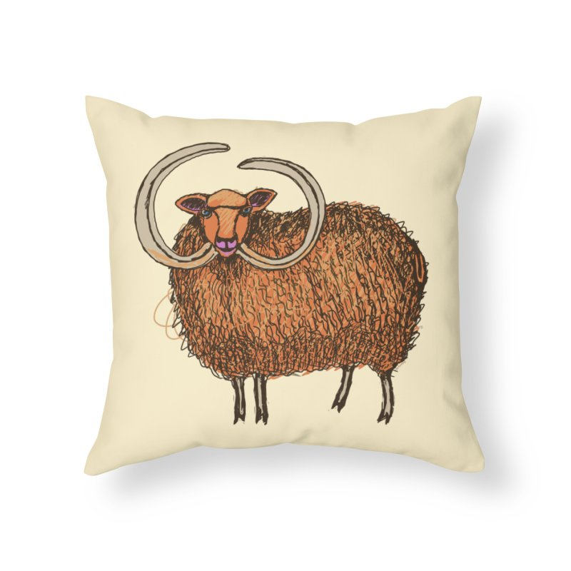 Wooly Mammoth Home Throw Pillow by BullShirtCo
