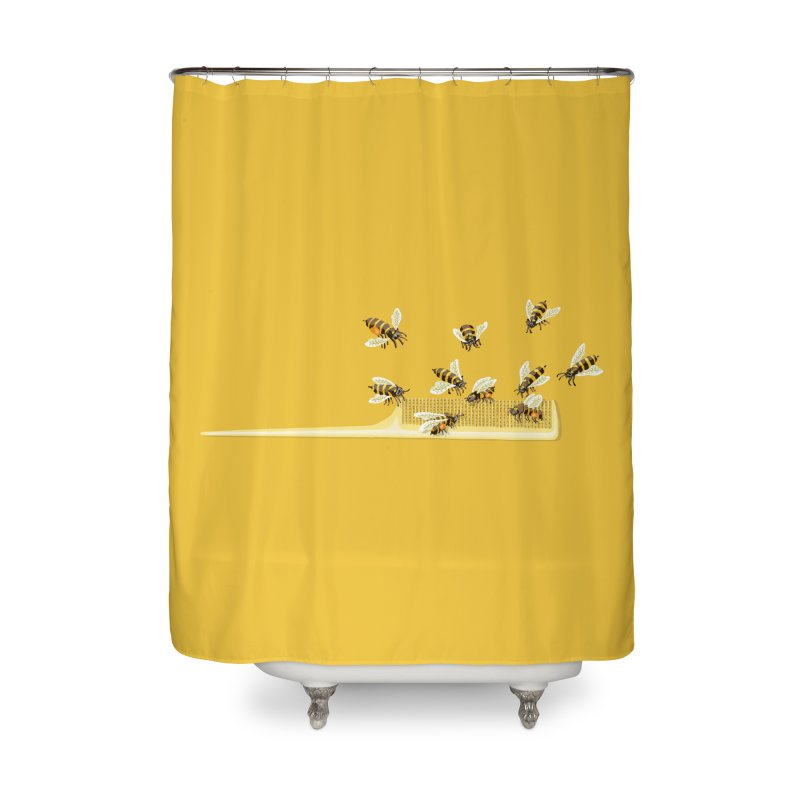 Mislead Team Of Busy Bees Home Shower Curtain by BullShirtCo