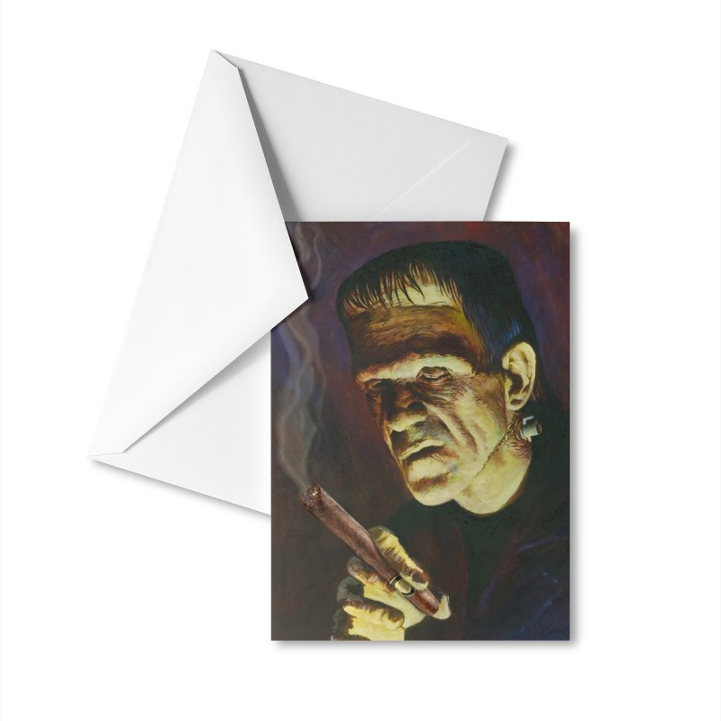 Holy Smokes! Frankenstein Smokes Accessories Greeting Card by BullShirtCo