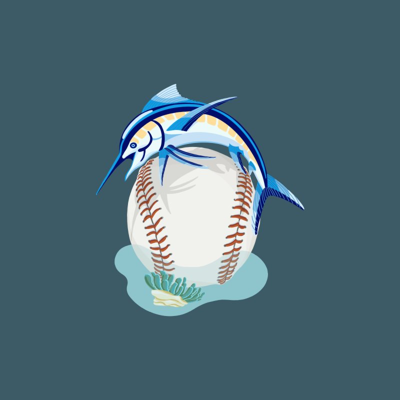 Play Ball! A Marlin Dives Over A Baseball Men's T-Shirt by BullShirtCo