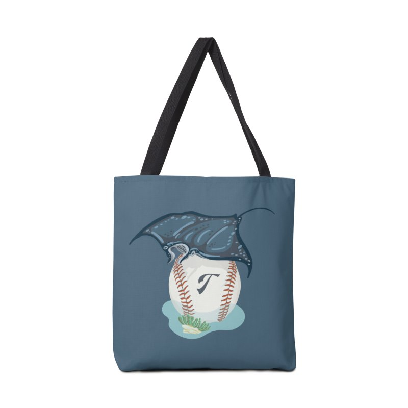 Play Ball! A Ray Dives Over A Baseball with Initial T Accessories Bag by BullShirtCo