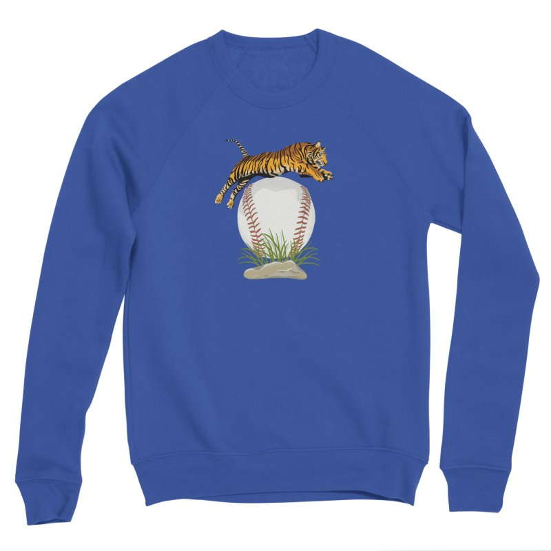 Play Ball! A Beautiful Tiger Dives Over A Baseball Men's Sweatshirt by BullShirtCo