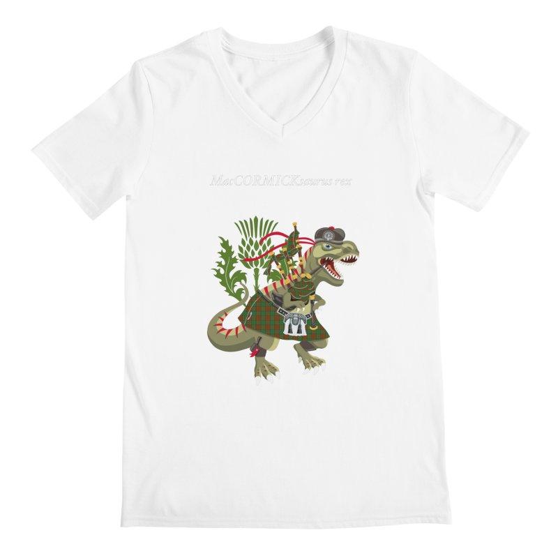 Clanosaurus Rex MacCORMICKsaurus rex McCormick MacCormick Tartan Men's V-Neck by BullShirtCo