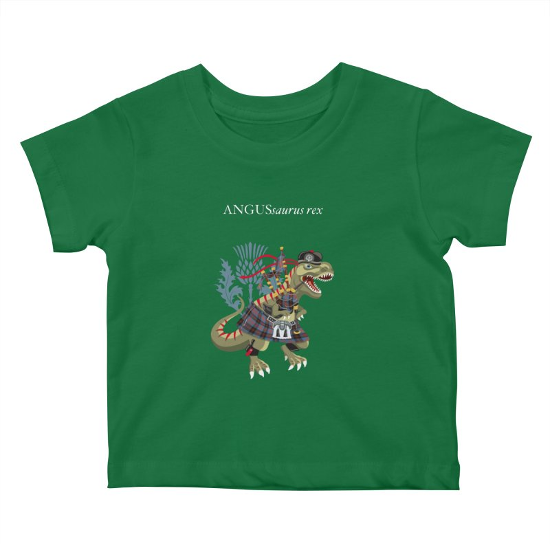 Clanosaurus Rex ANGUSsaurus rex family Angus Tartan Kids Baby T-Shirt by BullShirtCo