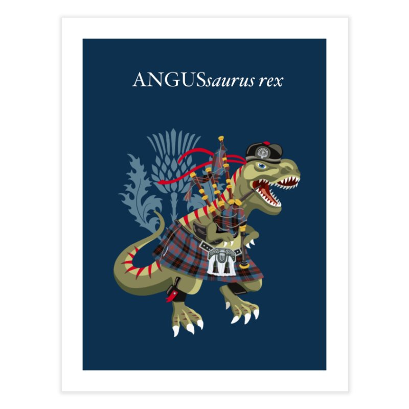 Clanosaurus Rex ANGUSsaurus rex family Angus Tartan Home Fine Art Print by BullShirtCo