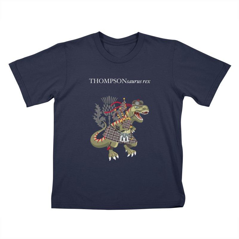 Clanosaurus Rex THOMPSONsaurus rex Thompson Tartan Kids T-Shirt by BullShirtCo