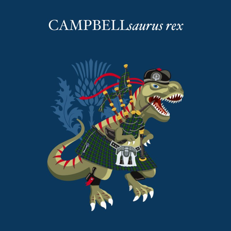 Clanosaurus Rex CAMPBELLsaurus rex Campbell Green Tartan plaid Accessories Face Mask by BullShirtCo