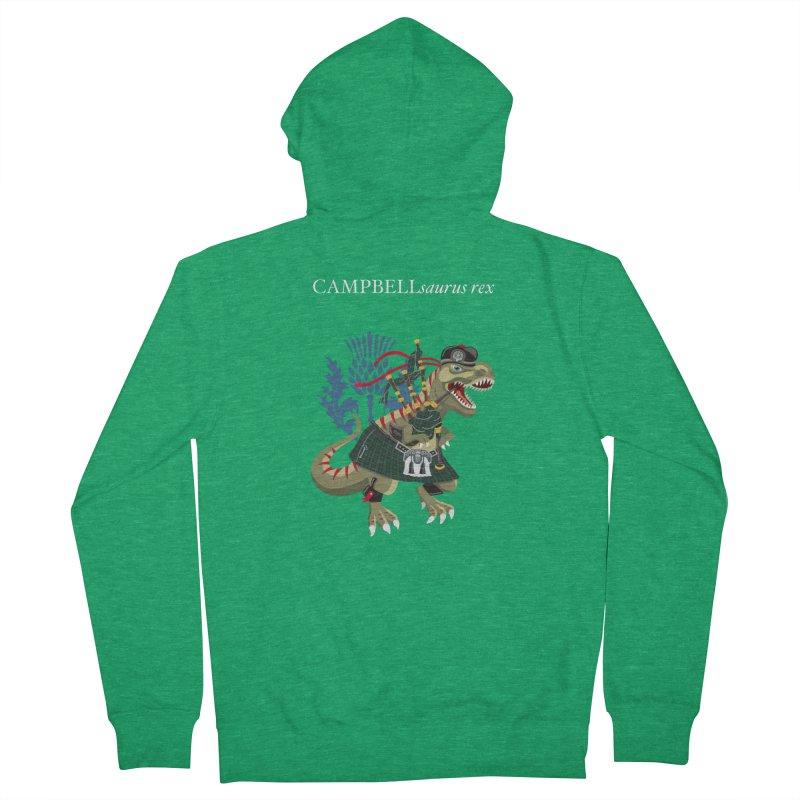 Clanosaurus Rex CAMPBELLsaurus rex Campbell Green Tartan plaid Men's Zip-Up Hoody by BullShirtCo