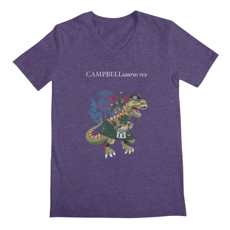 Clanosaurus Rex CAMPBELLsaurus rex Campbell Green Tartan plaid Men's V-Neck by BullShirtCo