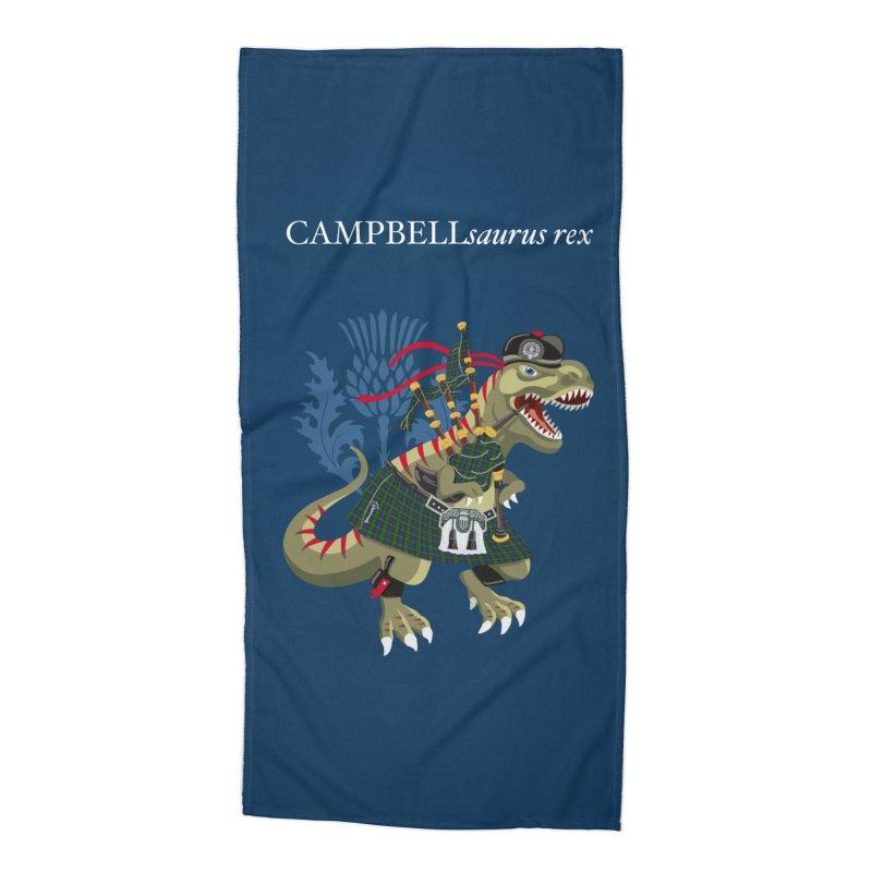 Clanosaurus Rex CAMPBELLsaurus rex Campbell Green Tartan plaid Accessories Beach Towel by BullShirtCo
