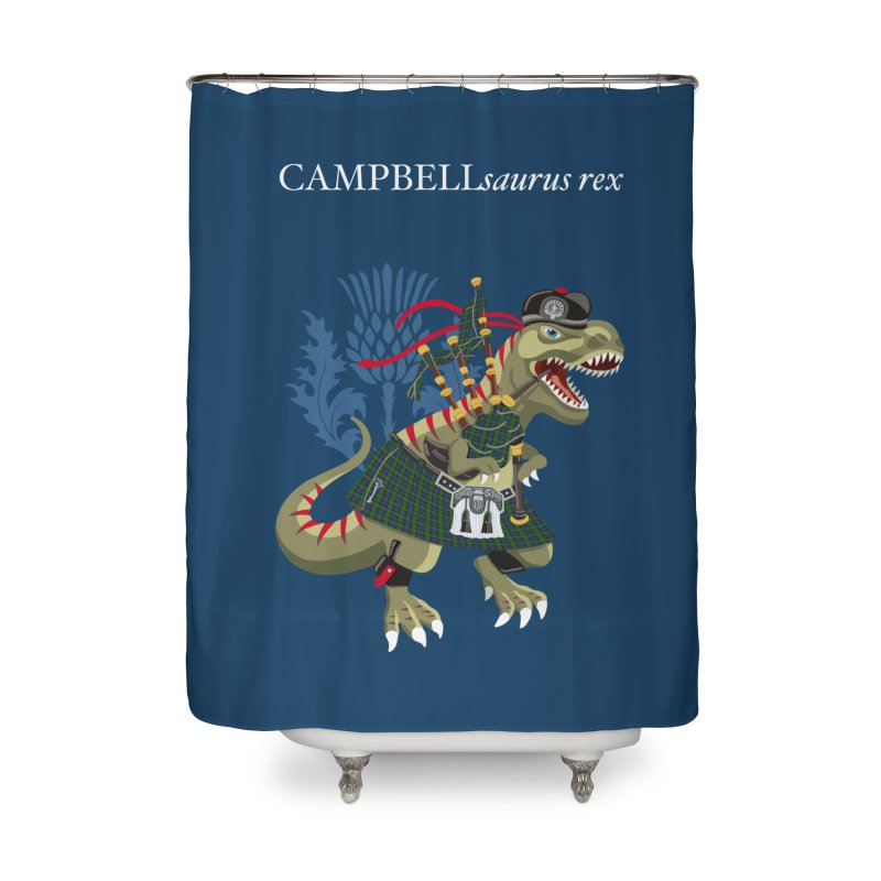 Clanosaurus Rex CAMPBELLsaurus rex Campbell Green Tartan plaid Home Shower Curtain by BullShirtCo
