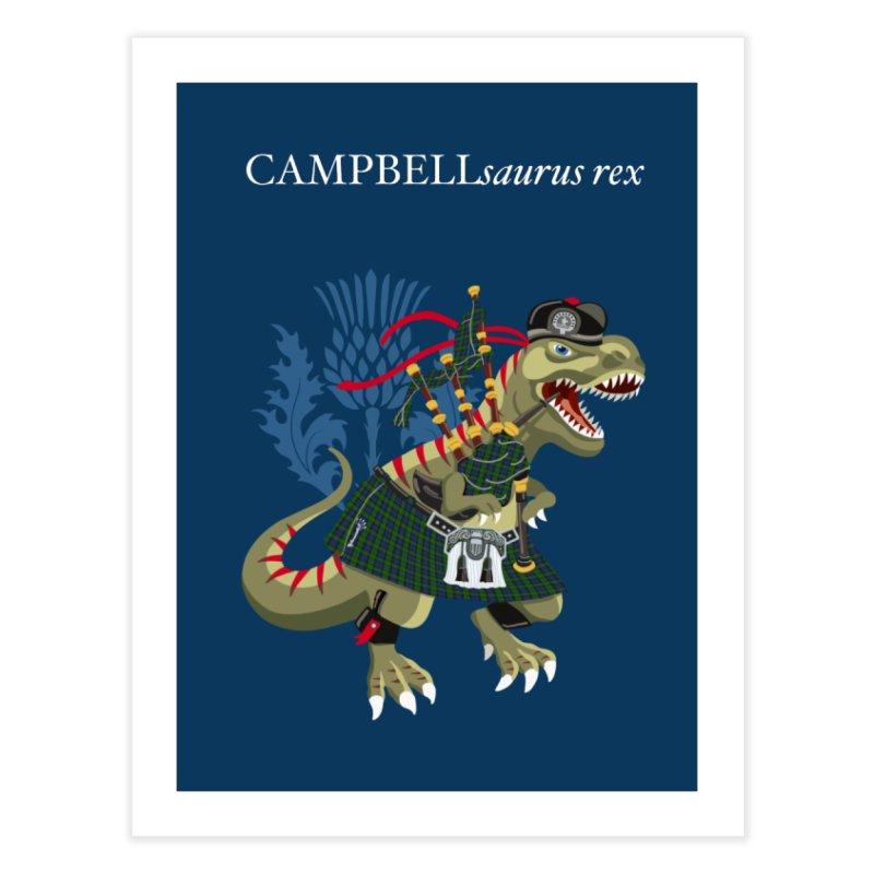 Clanosaurus Rex CAMPBELLsaurus rex Campbell Green Tartan plaid Home Fine Art Print by BullShirtCo