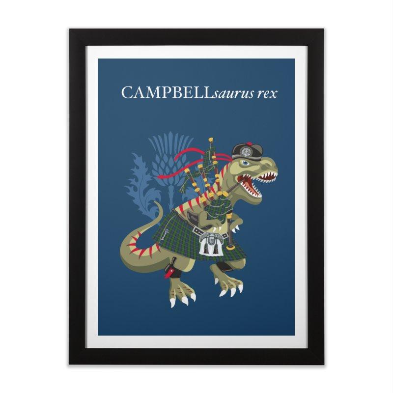 Clanosaurus Rex CAMPBELLsaurus rex Campbell Green Tartan plaid Home Framed Fine Art Print by BullShirtCo