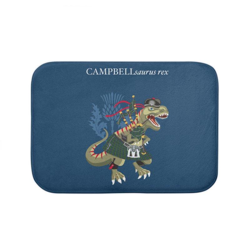 Clanosaurus Rex CAMPBELLsaurus rex Campbell Green Tartan plaid Home Bath Mat by BullShirtCo