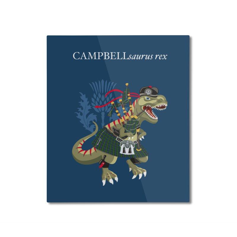 Clanosaurus Rex CAMPBELLsaurus rex Campbell Green Tartan plaid Home Mounted Aluminum Print by BullShirtCo