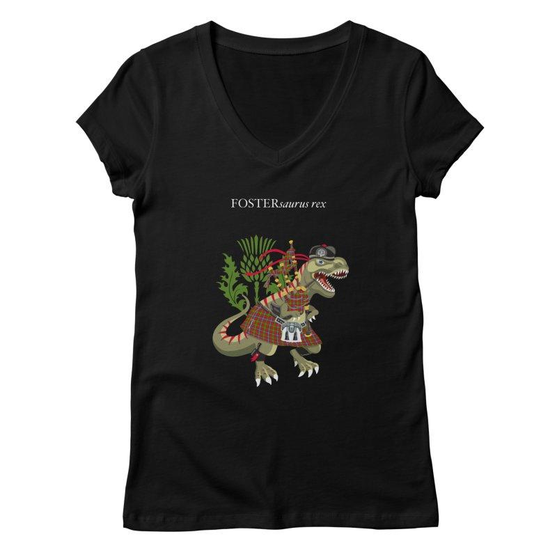 Clanosaurus Rex FOSTERsaurus rex Foster Forester Forster Forrester Tartan Women's V-Neck by BullShirtCo
