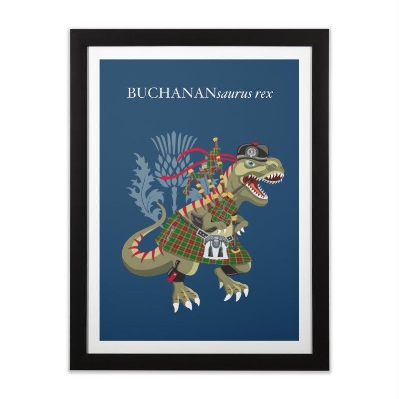 Clanosaurus Rex BUCHANANsaurus rex Buchannan Buchanan modern Tartan Home Framed Fine Art Print by BullShirtCo