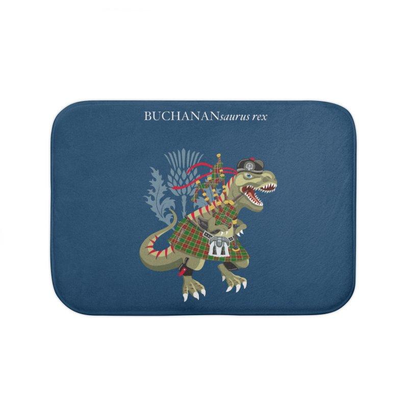 Clanosaurus Rex BUCHANANsaurus rex Buchannan Buchanan modern Tartan Home Bath Mat by BullShirtCo