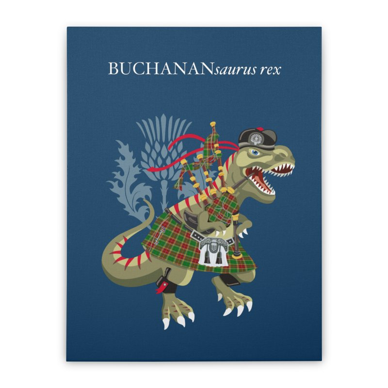 Clanosaurus Rex BUCHANANsaurus rex Buchannan Buchanan modern Tartan Home Stretched Canvas by BullShirtCo