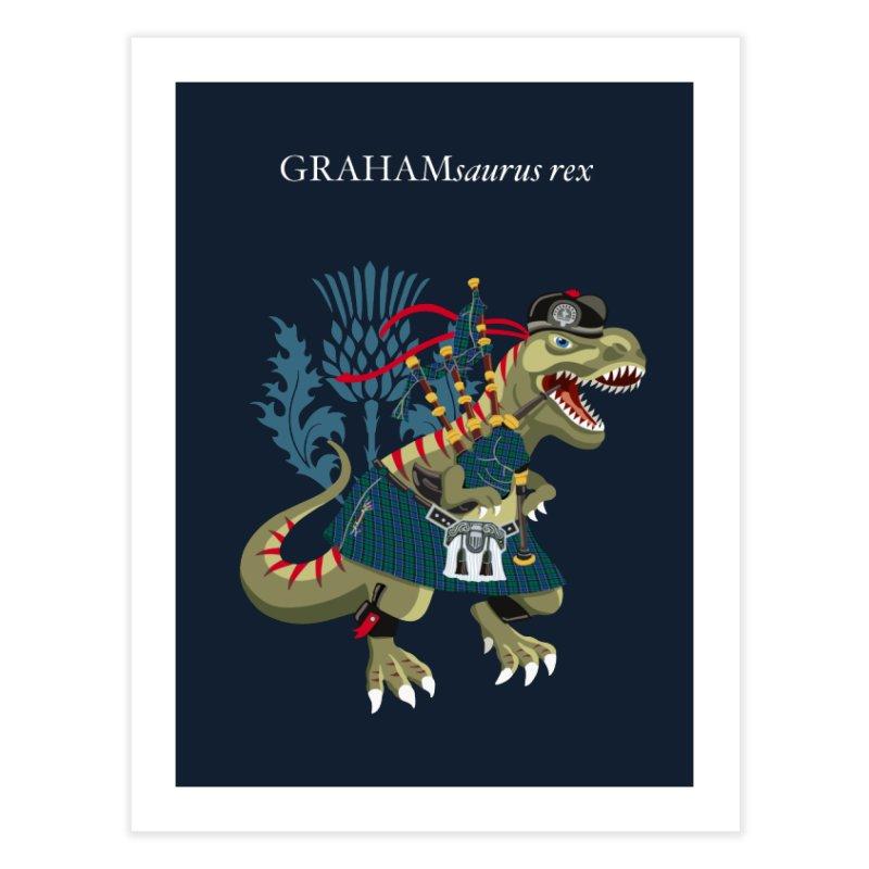 Clanosaurus Rex GRAHAMsauras rex Graham Tartan family Home Fine Art Print by BullShirtCo