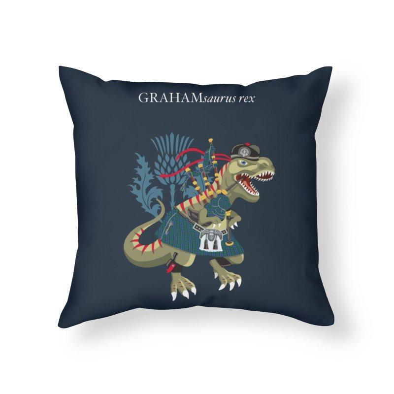 Clanosaurus Rex GRAHAMsauras rex Graham Tartan family Home Throw Pillow by BullShirtCo