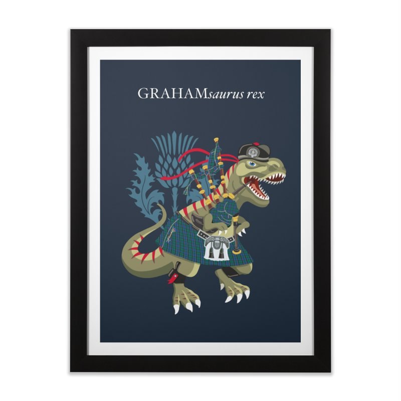 Clanosaurus Rex GRAHAMsauras rex Graham Tartan family Home Framed Fine Art Print by BullShirtCo