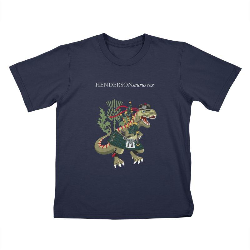 Clanosaurus Rex HENDERSONsaurus rex Henderson Tartan Family Plaid Kids T-Shirt by BullShirtCo
