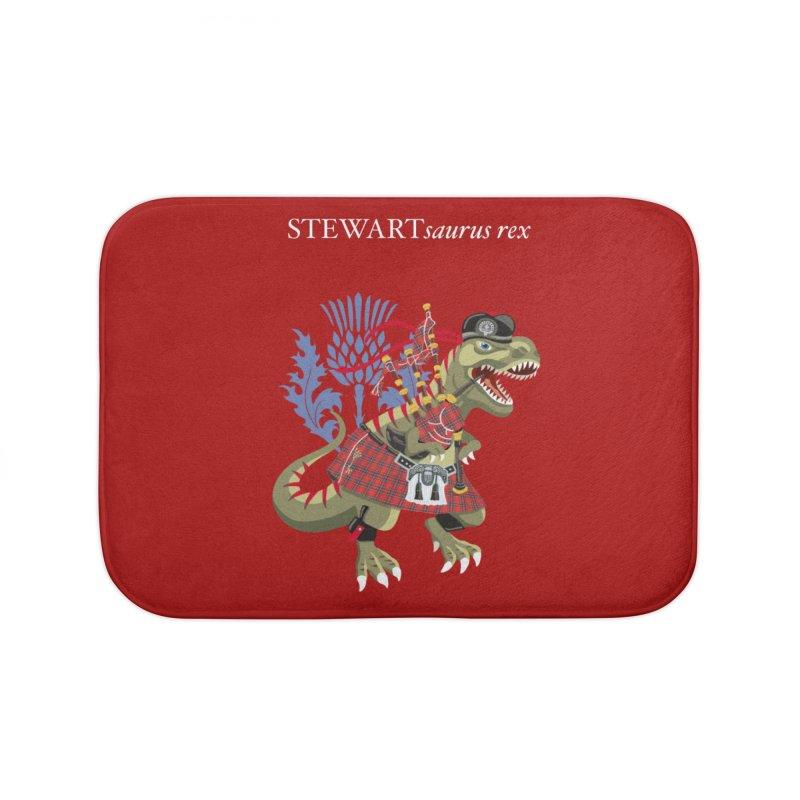 Clanosaurus Rex STEWARTsaurus rex Stewart Tartan Home Bath Mat by BullShirtCo