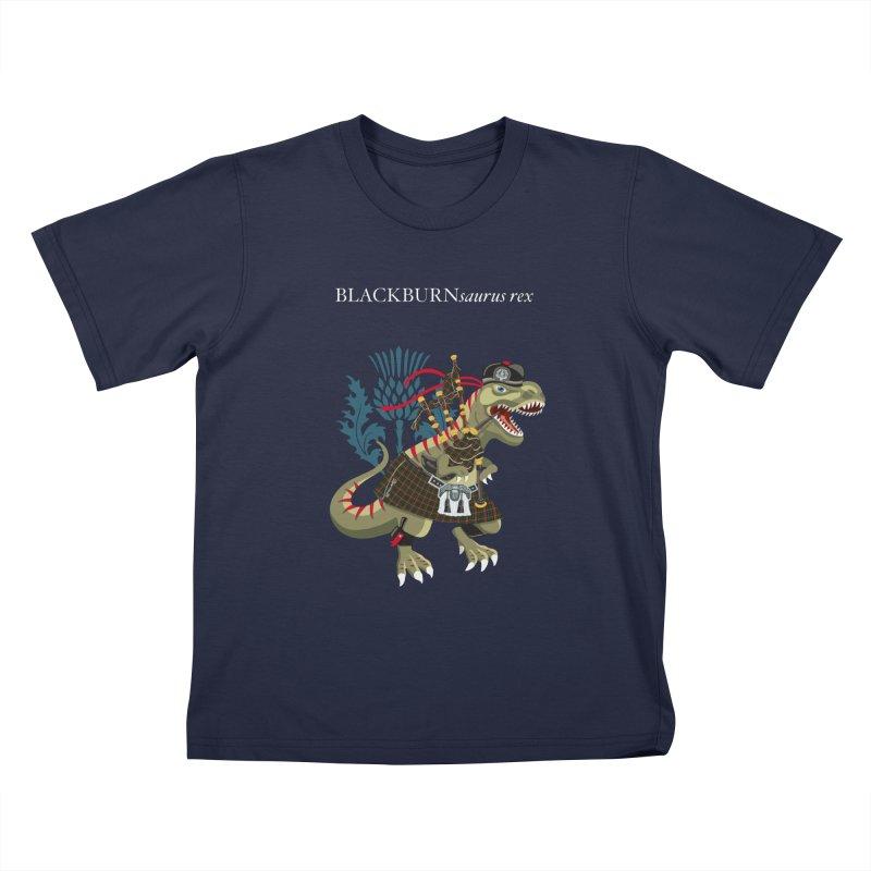 Clanosaurus Rex BLACKBURNsaurus rex Plaid Blackburn Family Tartan Kids T-Shirt by BullShirtCo