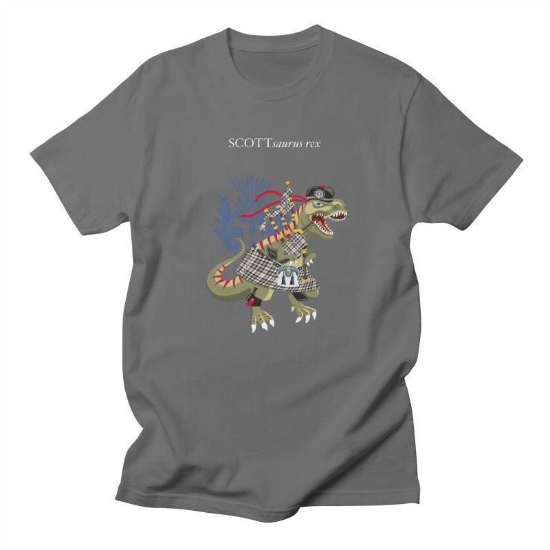 Clanosaurus Rex SCOTTsaurus rex Scott Black and White Family Tartan Men's T-Shirt by BullShirtCo
