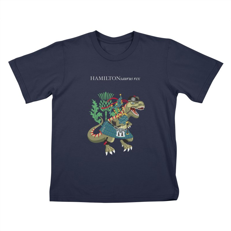 Clanosaurus Rex HAMILTONsaurus rex Hamilton Ancient Blue Family Tartan Kids T-Shirt by BullShirtCo