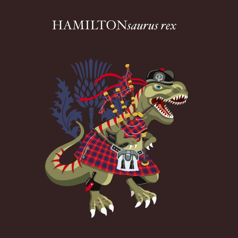 Clanosaurus Rex HAMILTONsaurus rex Hamilton Modern Red Family Tartan Women's T-Shirt by BullShirtCo